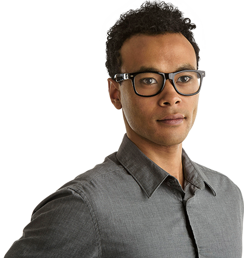 Young man wearing glasses confidently looking forward